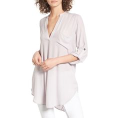 Women's Lush Perfect Roll Tab Sleeve Tunic ($28) ❤ liked on Polyvore featuring tops, tunics, lilac, pink top, lilac tunic, long length tops, split neck top and split neck tunic