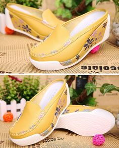 Women's #yellow flower leather platforms #sandal shoes, breathable insole, ultra light weight EVA wedges, thick bottom, slip on style.