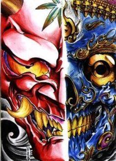 Pencil, black line ink, paper.did when i had a tattoo studio. Hannya and NepalSkull Oni Tattoo, Tattoo Art, Japanese Tatoo, Oni Demon, Tattoo Designs, Tattoo Ideas, Medium Art, Colorful Pictures, Tattoo Studio