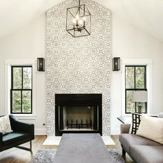 Great Images Fireplace Tile to ceiling Popular It's winter. Although environme… – farmhouse fireplace tile Tiled Fireplace Wall, Wallpaper Fireplace, Victorian Fireplace Tiles, Fireplace Tile Surround, Farmhouse Fireplace, Fireplace Remodel, Modern Fireplace, Wallpaper Decor, Modern Wallpaper