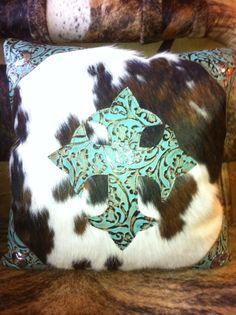 Cowhide Pillow/Turquoise Cross need this style bedding with just hints of turquoise. Cowhide Decor, Cowhide Pillows, Throw Pillows, Diy Pillows, Cushions, Western Decor, Country Decor, Rustic Decor, Rustic Wood