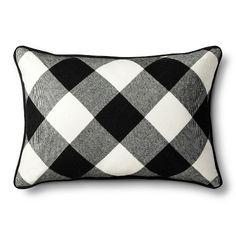 "Adam Lippes for Target  Reversible Pillow 14""x18"" - Black Plaid"