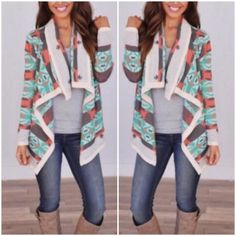 ❗️LAST TWO❗️Tribal Cardigan Sweater Don't think because the colddd weather is over this sweater is out the window -- This is so perfect for those cool spring nights, or summer nights at the shore! Pair it with a cute pair of shorts and you're set! Best selling sweater on Poshmark -- Color -- Mint. This sweater is so comfortable and warm! Tribal printed cardigan sweater in mint, draped front giving that nice, loose, flowing look. 75% Acrylic, 25% Mohair. Available in S/M/L. Price is firm. ❌No…