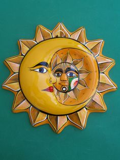 Mexican Pottery Ceramic Wall Sun Face New Wall Decor