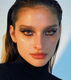 Edgy Makeup, Makeup Eye Looks, Eyeliner Looks, Eye Makeup Art, Cute Makeup, Pretty Makeup, Skin Makeup, Makeup Inspo, Makeup Inspiration
