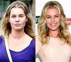 Rebecca Romijn On left: leaving a nail salon in Woodland Hills, Calif. 2012 On right: attending the Most Talkative: Stories From The Front Lines of Pop Culture book release party in West Hollywood on May 2012 Rebecca Romijn, Celebrity Gallery, Celebrity Pictures, Divas, Before And After Photoshop, Celebs Without Makeup, Asian Make Up, Cool Photoshop, Photoshop Actions