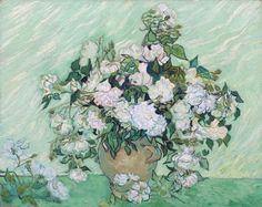 by Vincent van Gogh. Dutch, Oil on canvas. Vincent van Gogh painted Roses as part of his healing process while at the asylum at Saint–Rémy. Roses is recognized as one of Van Gogh's most beautiful still lifes. Vincent Van Gogh, Art Van, National Gallery Of Art, National Art, Art Gallery, Oil Canvas, Canvas Art, Framed Canvas, Canvas Paper