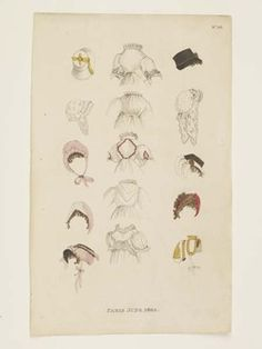 Museum of London | HAND COLOURED ETCHING Paris June 1803 Maker: Fashions of London and Paris Production Date: 1803 ID no: 2002.139/1436