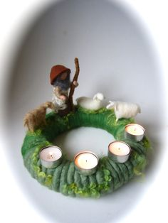 Advent wreath,Christmas,Shepherd,sheep . Waldorf. $59.00, via Etsy.