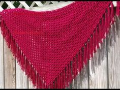 Chal Triangular Crochet Ganchillo con flecos - YouTube