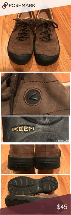 Keen Shoes Keen light brown shoes that are perfect for most seasons of the year. Lace up style with good insoles. Rubber soles that reach up around the toe area for more protection. Barely worn, as I bought them on a whim when my feet hurt from shopping all day and I wanted to change my shoes 🙃 I'd say they run a little small, I wear a 9 and these are a 9.5. Keen Shoes