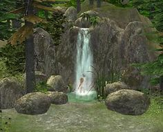 Mod The Sims - Waterfall shower - and tons of rocks! :D