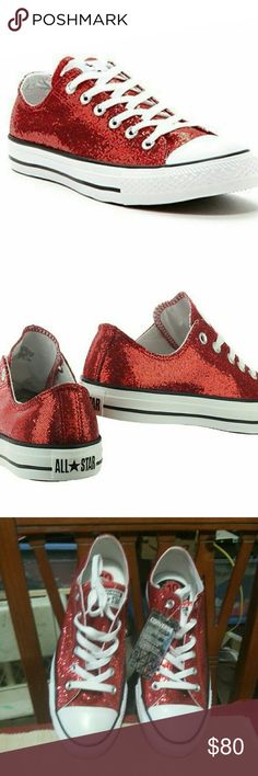 Converse Women's All Star CT Low Top Red Glitter Converse Women's All Star CT Low Top Sneakers  New without Box Style: 136085F Sizes: 10 Womens 8 Mens Color: Red Glitter All Star Logo on back of heel Six-eyelet lace-up front Low-top style Canvas upper Low-profile durable rubber outsole White rubber toe cap All items are 100% authentic Converse Shoes Sneakers