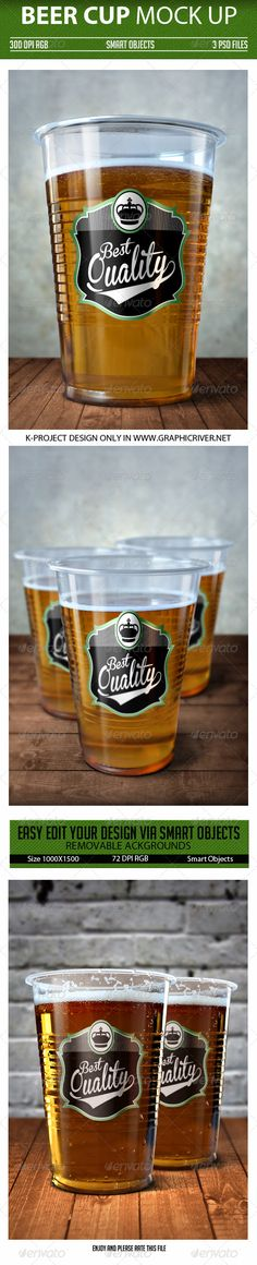 Beer Cup Mock Up  #layer #graphics #plastic • Click here to download ! http://graphicriver.net/item/beer-cup-mock-up/7245156?ref=pxcr