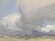 A stark and atmospheric watercolour by Archibald Knox (1864-1933) of storm clouds over a recently harvested field. The painting appears to be an attempt to capture the broad panoramic views of the Island's landscape with the gently rolling hills and the broad expanse of sky above them. Knox's watercolour sketches can be seen as exercises in capturing the light and a single moment in time. The artist is said to have painted his watercolour scenes in a few hours or less, but that he would…