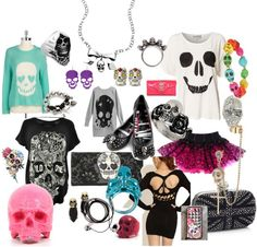 """""""skull everything :) #1"""" by movinmo ❤ liked on Polyvore"""