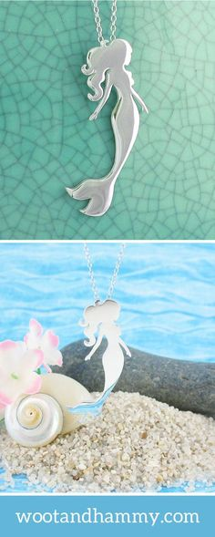 Whether real or fantasy, mermaids have been with us since ancient times – and we are still fascinated with them.  This enchanting piece perfectly captures all the features of a mermaid's graceful underwater motion: her elegantly curved shape, delicately poised arms, and gently flowing/floating hair. Mermaid necklace in sterling silver.