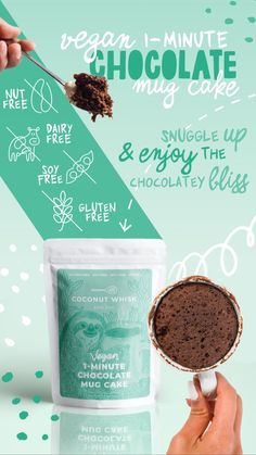 Short on time and need a boost of protein and sustainable energy? This 1-Minute Chocolate Mug Cake is a perfect vegan option for you. Quick, easy Vegan Breakfast Recipes, Vegan Recipes Easy, Sweet Recipes, Amazing Recipes, Chocolate Mug Cakes, Vegan Chocolate, Healthy Desserts, Healthy Eats, Vegan Options