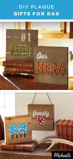 Nail Dad& gift this year with these DIY plaque projects. Show off your handy skills with these string art and marquee plaques.Get the kits to make these projects at your local Michaels store. Holiday Crafts, Fun Crafts, Crafts For Kids, Wood Crafts, Daddy Gifts, Gifts For Dad, Parent Gifts, Daddy Day, Fathers Day Crafts