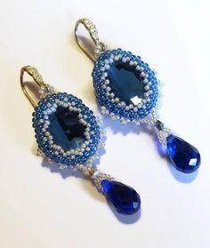 Deep blue earrings Elegant earrings Royal blue earrings