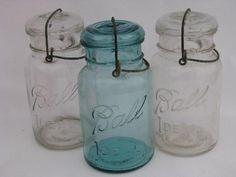 antique Ball Ideal mason canning jars lot, glass lightning lids w/ wire bails