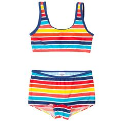 Summer 2014 – A two-piece for girls with more coverage than most, colors beyond pink, and no frilly embellishments.  From Polarn O. Pyret, sizes 2-12.