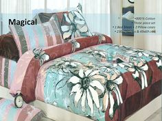 Floral Cotton Bed Set    Give your bedroom the freshness of flowers and the warmth of soothing colours by spreading this bed sheet set. This floral bed sheet set is made from cotton, which further makes it light in weight and easy to clean.