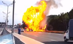 All Hell Breaks Lose After Explosive Gas Canisters Escape In A Highway Crash. Like a scene from DieHard! Click the pic to be blown away. Highway To Hell, Canisters, Dream Cars, Scene, Strange Things, Die Hard, Image, Lifestyle, Luxury