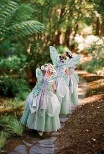 Why not add some #fairy #nymph wings as a fun #flowergirl accessory to match her outfit? Then watch her flutter, flit and fly down the aisle or through the forest! #bohemian #rustic #wedding #outdoorwedding