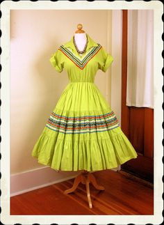 KILLER 1950's Rare Chartreuse Green Cotton New Look Squaw Patio Dress w Multicolored Rick Rack Trim & Gold Accents - VLV - Plus Size L to XL. $175.00, via Etsy.