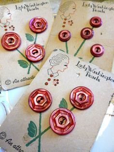 Vintage red MOP buttons on Lady Washington original cards.