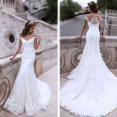 Charming Off Shoulder Sexy Mermaid White Lace Bridal Gown, Wedding Dresses, WD0058 The wedding dresses are fully lined, 4 bones in the bodice, chest pad in the bust, lace up back or zipper back are all available, total 126 colors are available.This dress