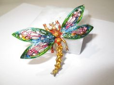 LARGE ART SIGNED BUTTERFLY DRAGONFLY PIN ENAMEL RHINESTONE FANCY BUG INSECT #ART