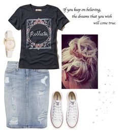 """""""Untitled #111"""" by sarahgriffis ❤ liked on Polyvore featuring Current/Elliott, Hollister Co., Converse, Kate Spade and WALL"""