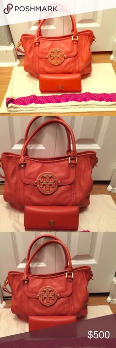 Tory Burch fall orange  HANDBAG ONLY Handbag : Perfect condition dark orange with gold hardware and comes with dust bag Tory Burch Bags Shoulder Bags