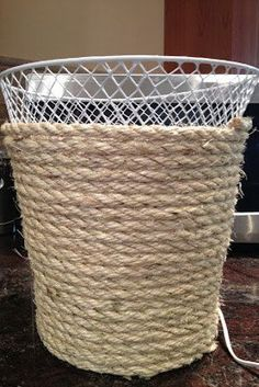 Give your trash can a rustic makeover. | 18 DIY Dollar-Store Projects That'll Transform Your Dorm For Cheap by diybric.blogspot.com