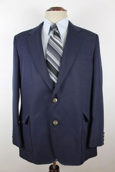 Haggar Blazer Sport Coat Mens size 40R Navy Blue Gold Buttons 2 Btn #Haggar #TwoButton