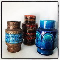 Bitossi vases. Aldo Londi. Mid century Italian pottery.