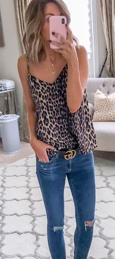 fall  outfits black and brown leopard print camisole. Leopard Cardigan  Outfit 034453833