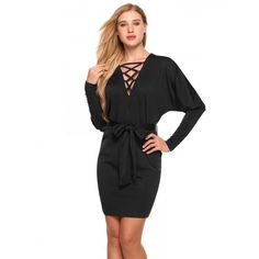 Criss Cross Deep V-Neck Batwing Long Sleeve Belted Bodycon Dress