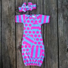 Polka dot stripes, infant gown, pink and turquoise, boutique gown, baby girl, baby shower, baby gown, baby girl layette, going home outfit on Etsy, $40.00