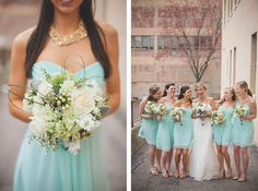 I love the turquoise dresses! Perfect for your wedding Alesia!! @alesiamesser #donnamorganengaged