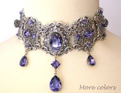 Tanzanite Swarovski Crystal Choker - Victorian Gothic Bridal Silver Choker - Bridal Necklace -Victorian Gothic Jewelry - Wedding Jewelry - Swarovski crystal jewelry collection by Le Boudoir Noir jewelry divine, dramatic and extremely femi - Silver Choker, Crystal Choker, Crystal Jewelry, Silver Jewelry, Jewelry Necklaces, Jewellery Box, Gothic Necklaces, Blue Choker, Steampunk Necklace