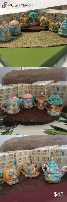 """♻️Lot of 7♻️1999 Vintage Precious Moments Mini teapot collection includes """"March"""", """"April"""", """"May"""", """"August"""", """"October"""", """"November"""", & """"December"""" teapots with original boxes! Other"""