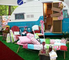 Moda brought in a vintage Airstream to celebrate designer Mary Jane Butters Glamping line