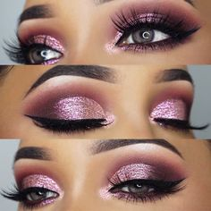 Gorgeous Makeup: Tips and Tricks With Eye Makeup and Eyeshadow – Makeup Design Ideas Pink Makeup, Blue Eye Makeup, Glam Makeup, Pink Wedding Makeup, Makeup Style, Dark Smokey Eye Makeup, Teen Makeup, Pink Smokey Eye, Smokey Eyes
