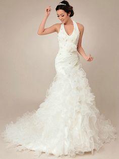 $286.89 Gorgeous Mermaid Organza Halter Cascading Ruffle Wedding Dresses  #Cheap #wedding #dresses #  https://www.facebook.com/ExclusiveWeddingNetworkBlog