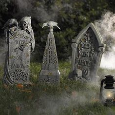 There is an UNLIMITED selection of tombstones available for sale during Halloween. Remember, you are having a Haunted Mansion party, so your graveyard can contain some of your own tombstones! Halloween Yard Props, Halloween Yard Decorations, Halloween 2014, Halloween Signs, Outdoor Halloween, Halloween Party Decor, Holidays Halloween, Halloween Crafts, Halloween Ideas