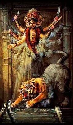 She is usually depicted riding a lion and with 8 or 10 arms, each holding the special weapon of one of the gods, who gave them to her for her battle against the buffalo demon Shiva Parvati Images, Durga Images, Shiva Shakti, Maa Durga Photo, Maa Durga Image, Navratri Puja, Happy Navratri, Durga Painting, Lord Shiva Painting