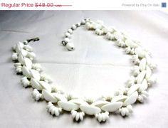 Milk Glass Necklace 1940s Vintage Wedding Jewelry Great Gatsby via Etsy